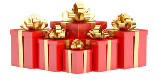 Red Gift Boxes with Golden Bow and Ribbon, 3D rendering. On white background Stock Image