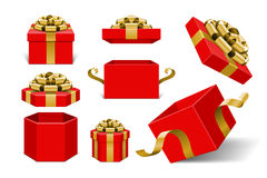 Red Gift Boxes and with golden bow. And ribbon vector design elements set isolated on white background Stock Image