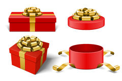 Red Gift Boxes and with golden bow ribbon vector. Design elements set isolated on white background Stock Photography