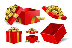 Red Gift Boxes and with golden bow ribbon vector. Design elements set  on white background Stock Photos