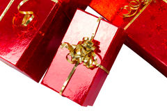 Red gift boxes isolated on white Royalty Free Stock Photo