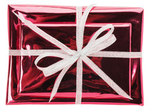 Red gift boxes isolated on the white background Stock Image