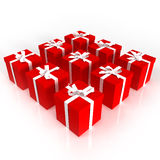 Red gift boxes neatly arranged Royalty Free Stock Photos
