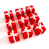 Red gift boxes neatly arranged Royalty Free Stock Image