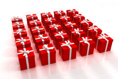 Red gift boxes neatly arranged Stock Photography