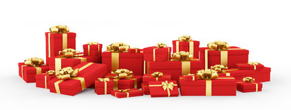 Red gift boxes, presents  3d rendering Stock Images