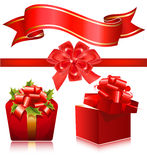 Red gift boxes with red ribbon and bow. Stock Images