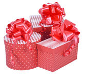 Red gift boxes with ribbon bow isolated on white Royalty Free Stock Image