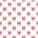 Red gift boxes seamless vector geometric pattern Stock Photos