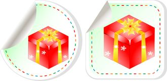 Red gift boxes stickers set background. Red gift boxes stickers set over white background Stock Photo