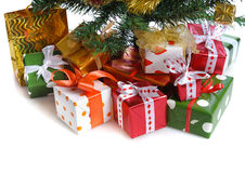 Red gift boxes under Christmas tree Royalty Free Stock Images