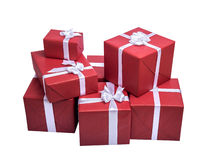 Red gift boxes with white ribbon. Isolated on white background Stock Photography