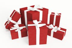 Red gift boxes with white ribbons. Suitable for christmas, valentines or birthdays Stock Photo