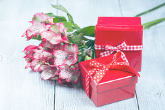 Red gift boxes Royalty Free Stock Image