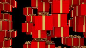 Red gift boxes wrapped with gold ribbons are falling on black background. Loopable animation for christmas, holidays and. 3d abstract festive background with royalty free illustration