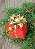 Red gift and branches a fir-tree Stock Photo