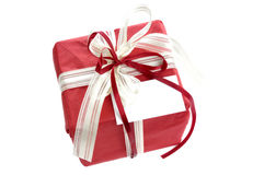 Red gift with card Stock Images