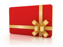 Red gift card with golden ribbon Stock Image