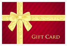 Red gift card with golden ribbon with floral patte Stock Images