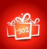 red gift card with presents Stock Image