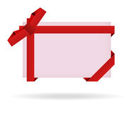 Red gift card with ribbon, bow and shadow Royalty Free Stock Images