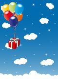 Red gift carried into the blue sky. Illustration of a red gift wrapped, carried up into the blue sky by a bunch of colorful balloons Royalty Free Stock Image