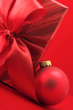 Red gift and Christmas decoration Royalty Free Stock Photos