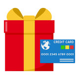 Red Gift and Blue Credit Card Flat Icon Stock Photography