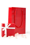 Red gift and Gift bag. On white background Royalty Free Stock Image