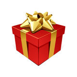 Red gift with gold bow Royalty Free Stock Photography