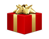 Red Gift with Gold Bow Royalty Free Stock Photos