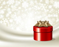 Red gift with gold bow on silk. Vector background Stock Photography