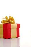 Red gift with the gold ribbon Royalty Free Stock Photo