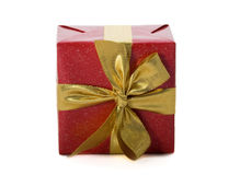 Red gift with gold ribbon Stock Photo