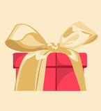 Red gift with gold ribbon Stock Photography