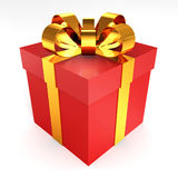 Red gift with gold ribbon bowon white background. 3d Royalty Free Stock Images