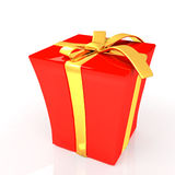 Red gift with gold ribbon on a white. Background Stock Images