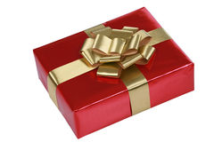 Red gift with gold ribbons Royalty Free Stock Photography