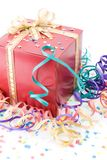 Red gift with a golden bow Stock Photography