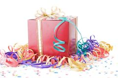 Red gift with a golden bow Stock Images