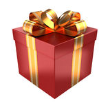 Red gift with golden ribbons Royalty Free Stock Photography