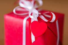 Red gift heart copy space Royalty Free Stock Image