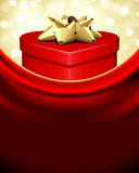 Red gift heart top view Stock Photography