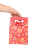 Red gift paper bag Stock Images