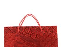 Red gift paper bag with hadles. Stock Photo
