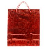 Red gift paper bag with ornament. Stock Photos