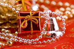 Red gift and pearls Stock Images