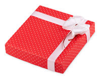 Red gift with ribbon Royalty Free Stock Image