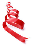Red gift ribbon. Red ribbon gift decoration isolated on white Royalty Free Stock Photos