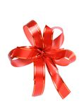 Red gift ribbon. With bow isolated on white background Stock Photo